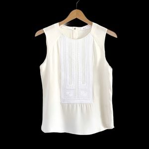 A.L.C. Sleeveless Cream Embroidered Silk Blouse